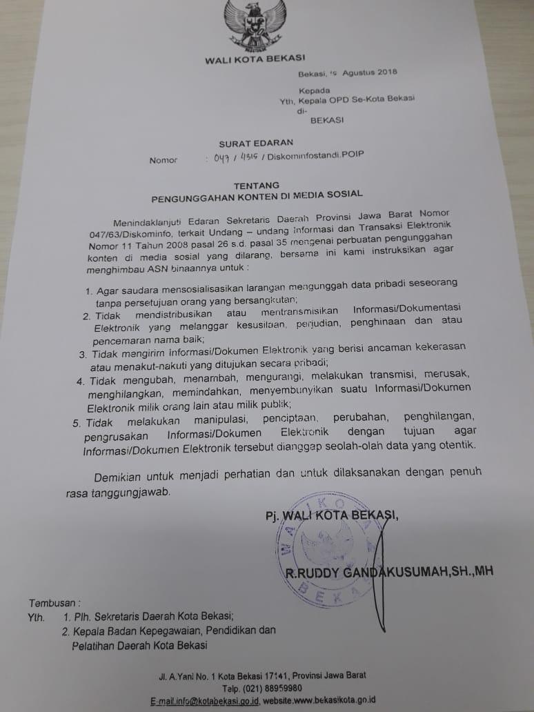 Pemerintah Kota Bekasi Surat Edaran Tentang Unggahan