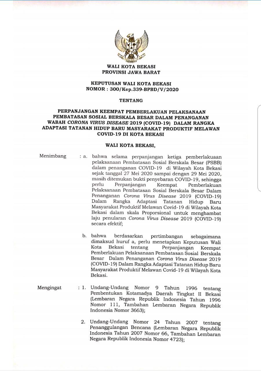 Pemerintah Kota Bekasi Perpanjangan Psbb Tahap Iv Kota Bekasi Berlaku Sampai Dengan Tanggal 4 Juni 2020