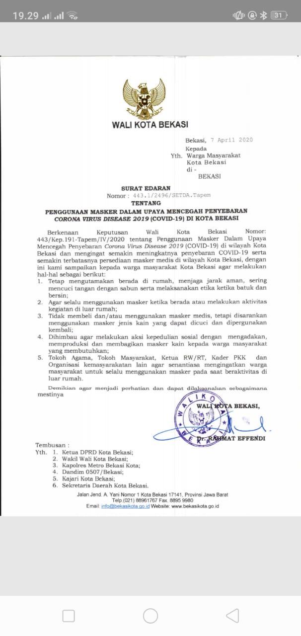 Pemerintah Kota Bekasi Surat Edaran Penggunaan Masker Dalam Upaya Mencegah Penyebaran Covid 19 Di Kota Bekasi