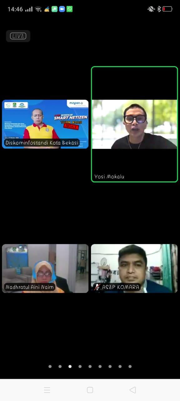 Webinar Smart Netizen, Kolaborasi Muspen dan Diskominfostandi Kota Bekasi