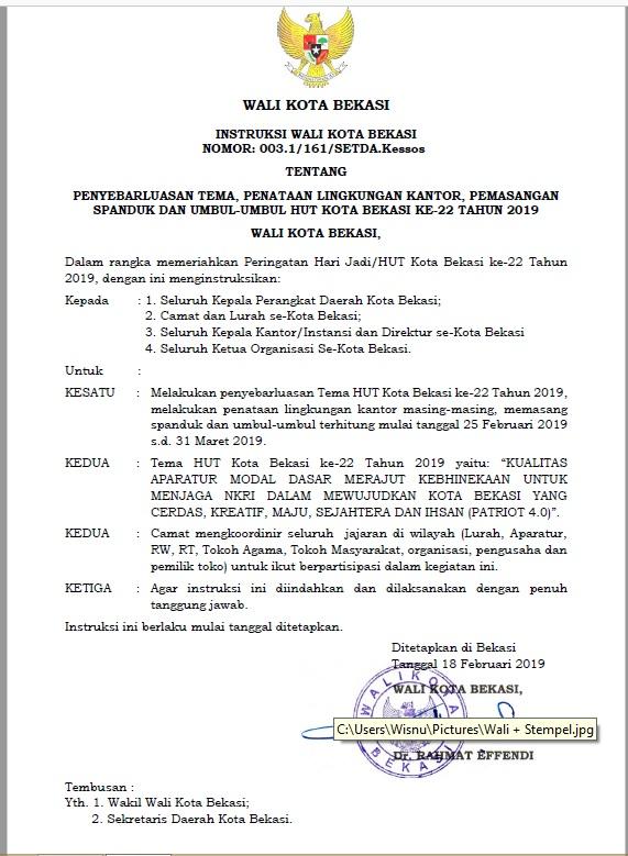 Penyebarluasan Tema  HUT Kota Bekasi  ke - 22 Tahun 2019