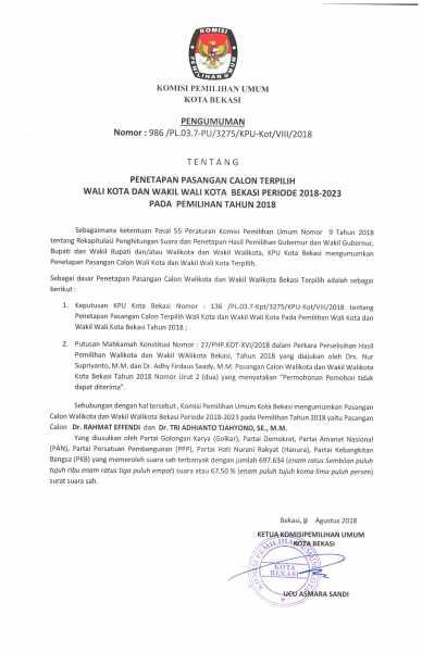 Pengumuman Penetapan Paslon Walikota dan Wakil Walikota Bekasi  2018 - 2023