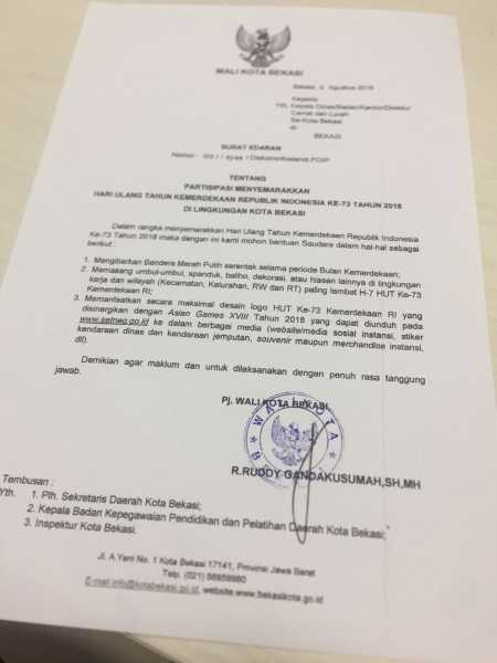 Partisipasi Menyemarakan HUT RI Ke 73 Tahun 2018 Di Lingkungan Kota Bekasi