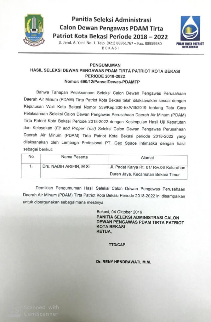 Hasil Seleksi Dewan Pengawas PDAM Tirta Patriot Kota Bekasi
