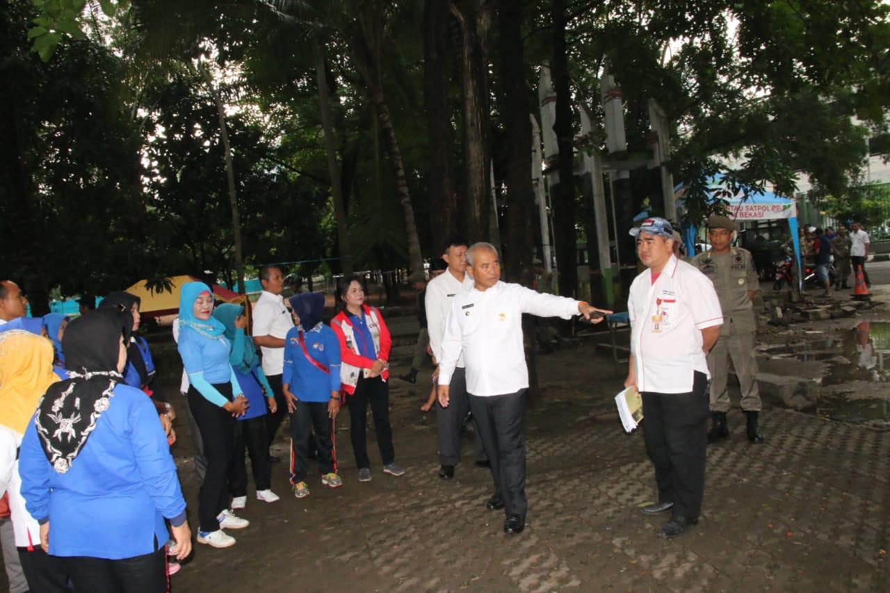 Wali Kota Cek Penataan Lokasi Senam Untuk PORPI Kota Bekasi