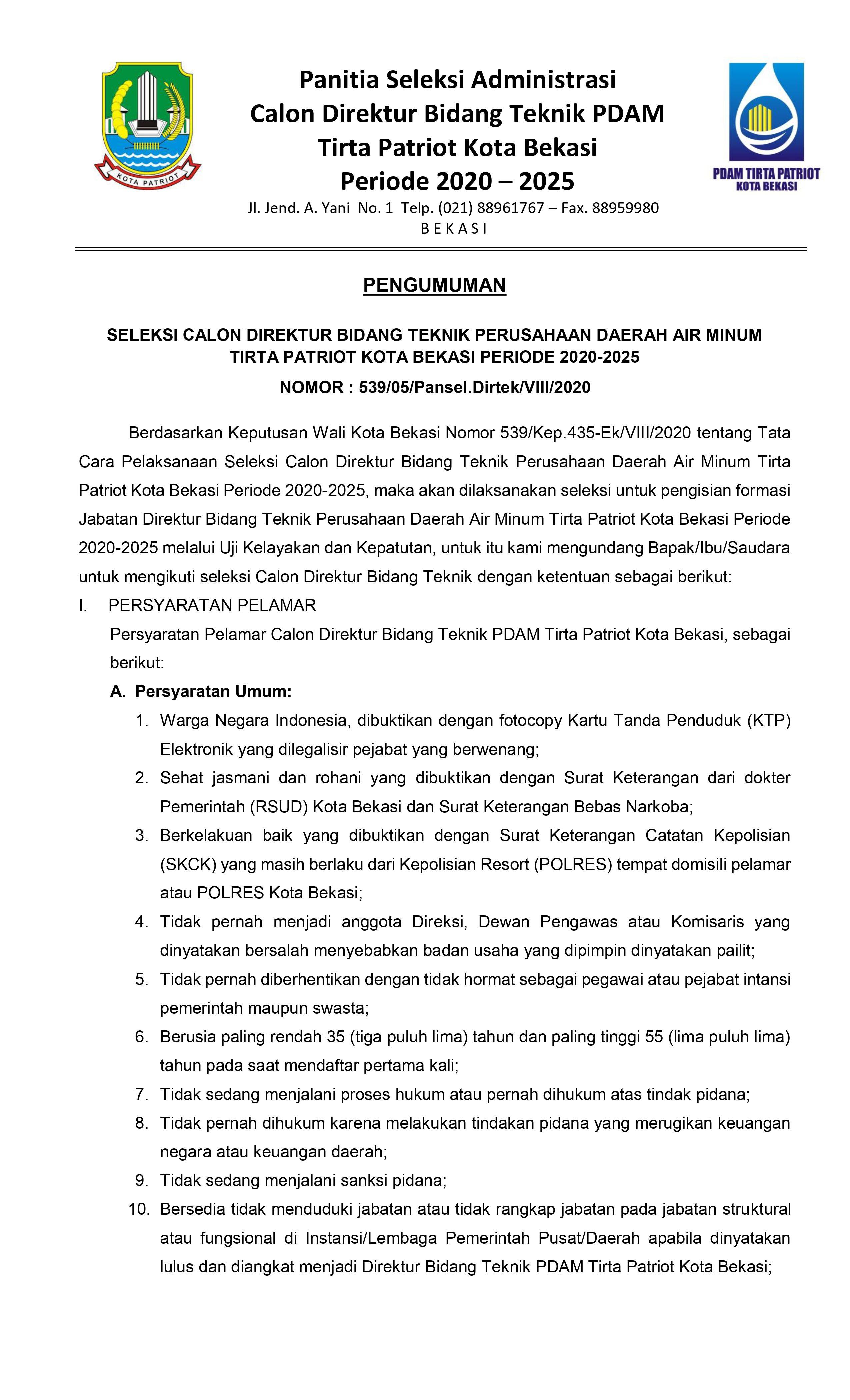 Seleksi Calon Direktur Bidang Teknik PDAM Tirta Patriot Kota Bekasi