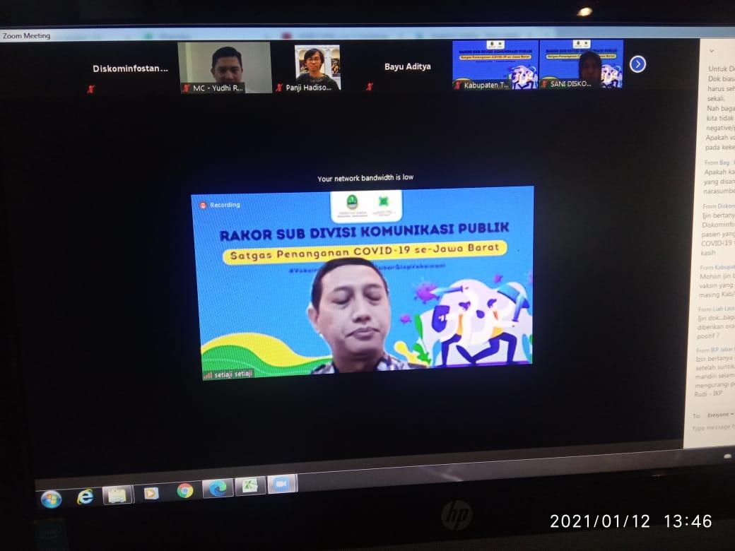 Rakor Virtual Sub Divisi Komunikasi Publik Satgas Penanganan Covid-19 se-Jawa Barat