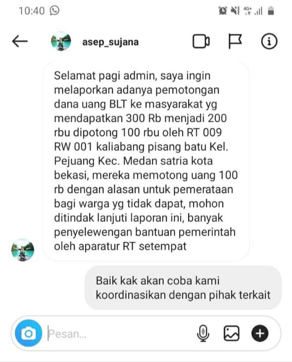 Pemkot Bekasi Perintahkan Pengurus RT dan RW Kembalikan Potongan Dana BST di Kelurahan Pejuang