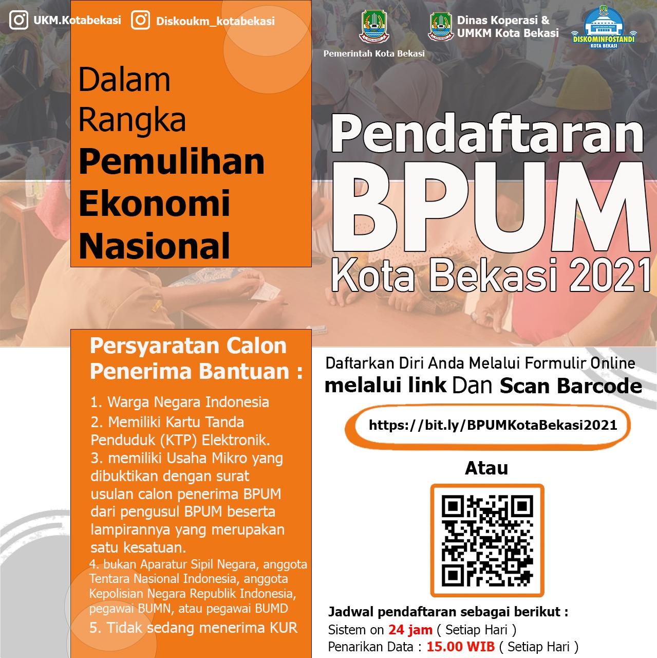 Pemkot Bekasi Keluarkan Surat Edaran Tata Cara Pendaftaran Online BPUM Tahun 2021