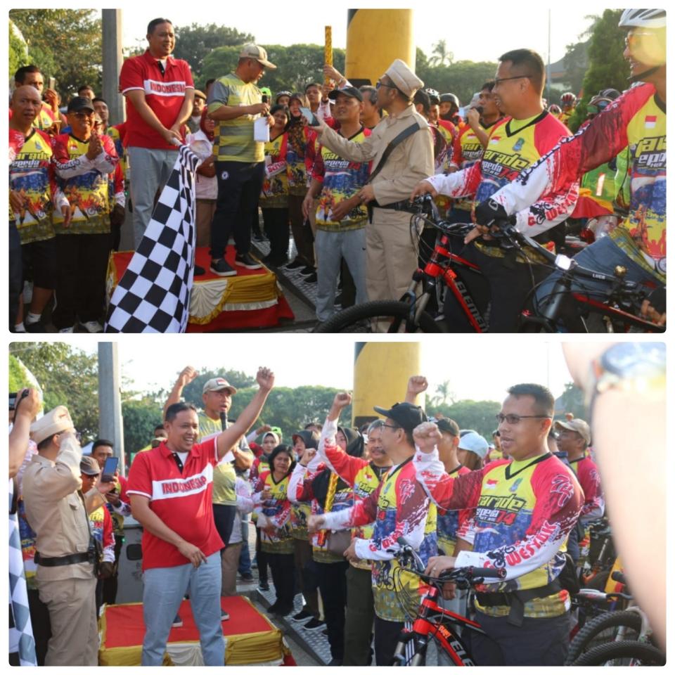 Wali Kota dan Wawali Kota Bekasi Lepas Peserta Parade Sepeda HUT RI 74